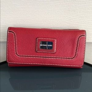 Michael Kors red leather wallet silver bag purse
